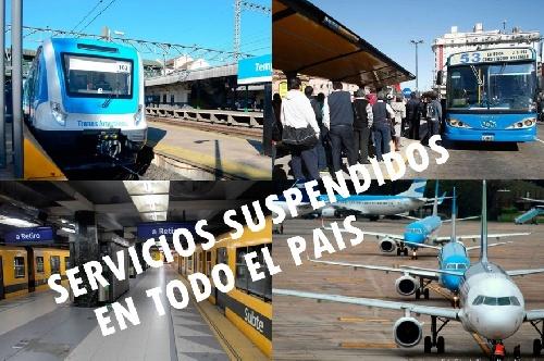 FINDE LARGO: SUSPENDEN MEDIOS DE TRANSPORTE EN TODO EL PAIS