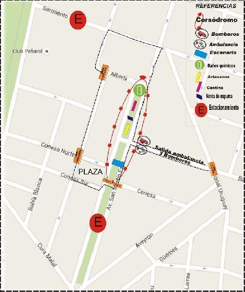 Carnavales Pigüé 2020 en Barrio Ducos - mapa de referencias y calles cortadas