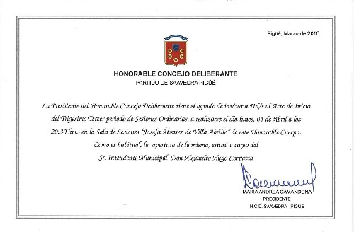 Apertura de las Sesiones Ordinarias  2016 del HCD del Distrito de Saavedra - Pigué