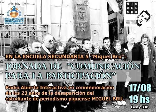 ESCUELA Nº 5 MIGUEL BRÚ DE PIGÜÉ :JORNADAS DE COMUNICACION PARA LA PARTICIPACION