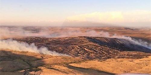 Aunque estaría controlado, nueve dotaciones de bomberos trabajan contra el fuego en los cerros de Pringles