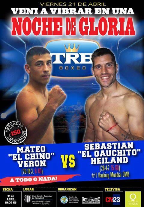 Sebastian Heiland peleará el 21 de abril en El Porvenir, Quilmes.