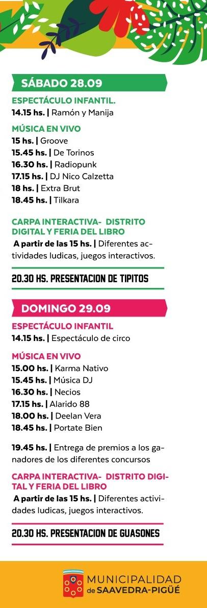 Programa de Actividades de la Fiesta de la Primavera en Pigüé