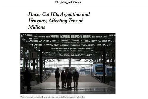 Apagón masivo: así reflejaron los medios del mundo el apagón histórico en la Argentina y Uruguay