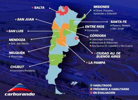 El mapa nacional donde el automovilismo podría estar presente.