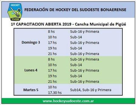 Capacitación de la Federación de Hockey del Sudoeste en Pigüé