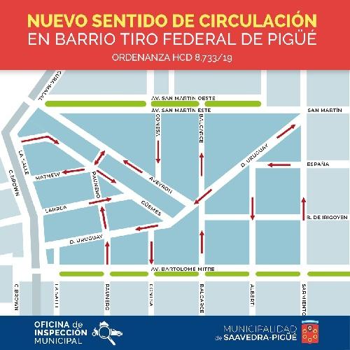 Cambio de sentido de circulación de calles en el Barrio Tiro Federal de Pigüé