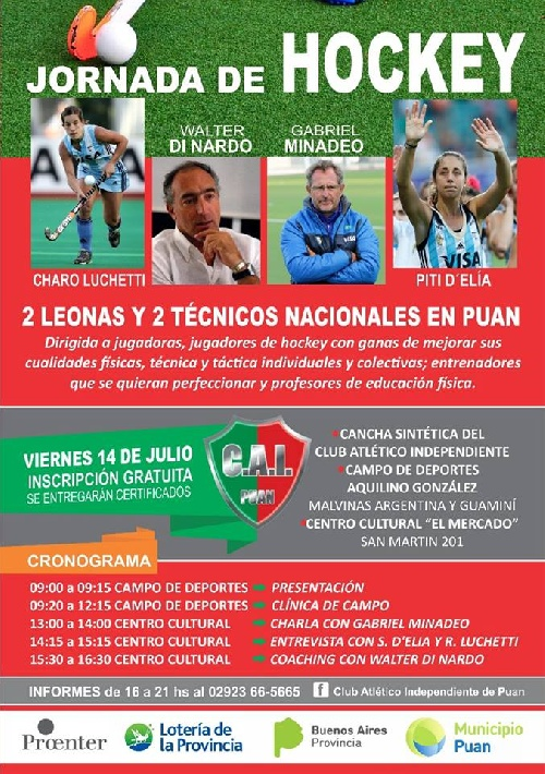 Hockey - Capacitación de jerarquía en Puán el próximo viernes.