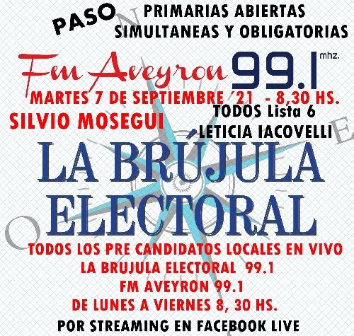 SILVIO MOSEGUI  DE  TODOS Lista 6 EN LA BRUJULA ELECTORAL 99.1