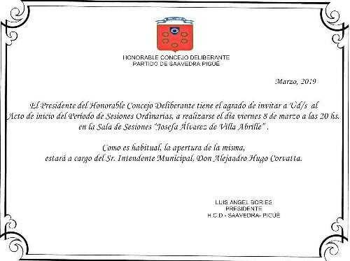 Inicio del período de Sesiones Ordinarias en el HCD del Distrito de Saavedra Pigüé