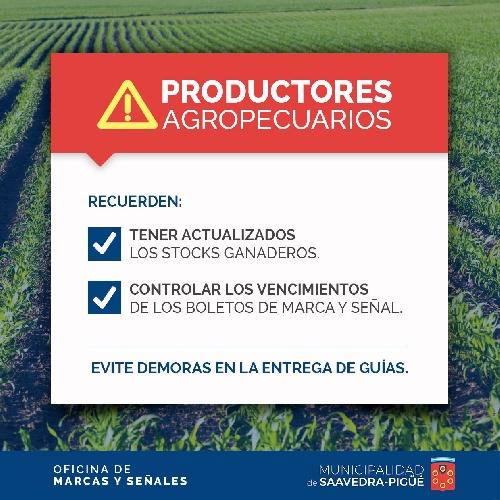 Recordatorio municipal para agropecuarios