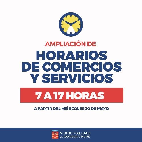 AMPLIARON EL HORARIO PARA COMERCIO Y SERVICIOS