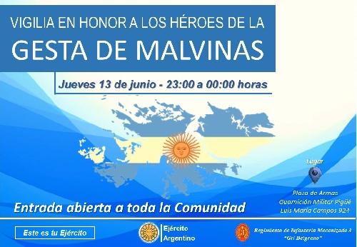Vigilia en Homenaje a los Caídos y Héroes de Malvinas en la Guarnición Militar  de Ejercito Pigüé