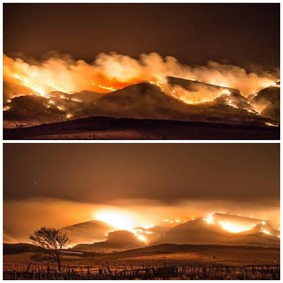 Recrudeció el fuego en la zona de la Estancia Funke de las sierras del Abra de la Ventana