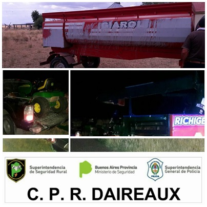 Recuperan en un campo de Goyena maquinaria agricola robada en Daireaux