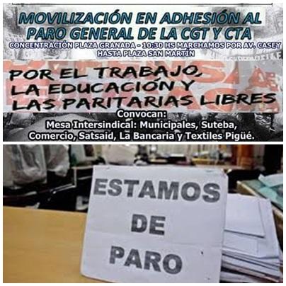 Pigüé: Paro del Sindicato de Municipales y marcha con los gremios de la Mesa intersindical