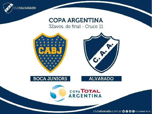 Copa Argentina - Alvarado jugará con Boca Juniors y Agropecuario con Lujan en el comienzo de la competición.