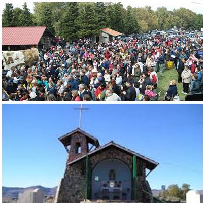 Multitud de fieles en la Peregrinación a la Ermita Ntra. Sra. de Lujan de la Sierra en Saavedra