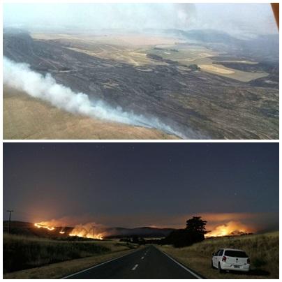 Continúa el trabajo de bomberos de la región en el incendio  en cercanías  de Sierra de la Ventana