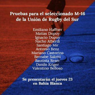 Valentino Belloso participará en una prueba en el seleccionado U16 de la Unión del Rugby del Sur