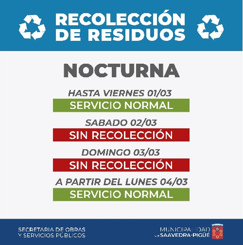 Recolección domiciliaria de residuos finde largo