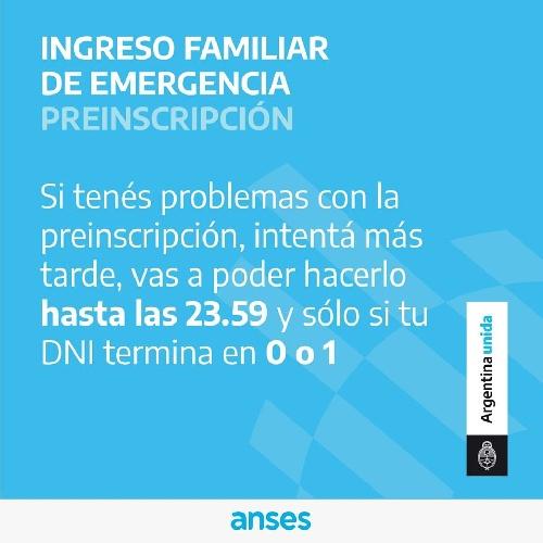 INGRESO FAMILIAR DE EMERGENCIA : COMENZÓ LA PREINSCRIPCIÓN POR INTERNET
