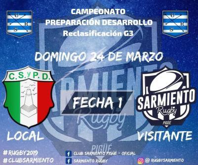 Rugby - Por el Reclasificatorio G3 Club Sarmiento visita Patagones.
