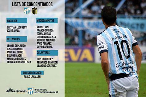 Copa Libertadores - Leo González entre los convocados para el partido de Atlético ante Peñarol de Montevideo.