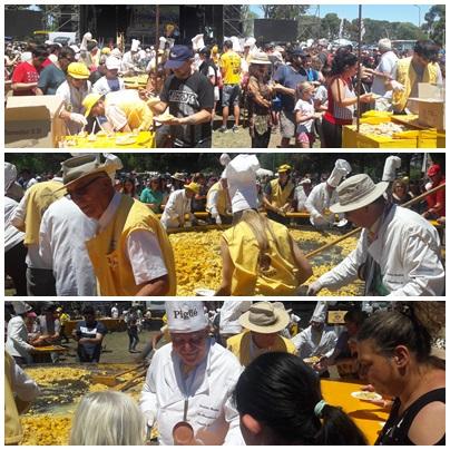 Miles de personas degustaron la Omelette Gigante Gratuita en Pigüé