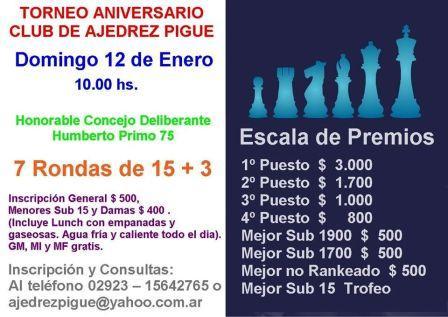 Ajedrez - Se juega el torneo Aniversario este fin de semana.