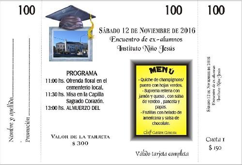 Convocatoria a ex alumnos del Instituto Niño Jesus de Pigüé para el encuentro anual del sabado 12 de noviembre