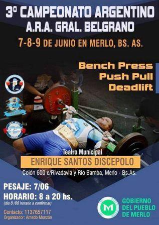 Pesas - Martín San Felice competirá en Merlo Buenos Aires.