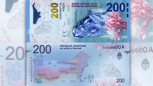 Ponen en circulación el nuevo billete de $ 200 con la imagen de la ballena franca austral