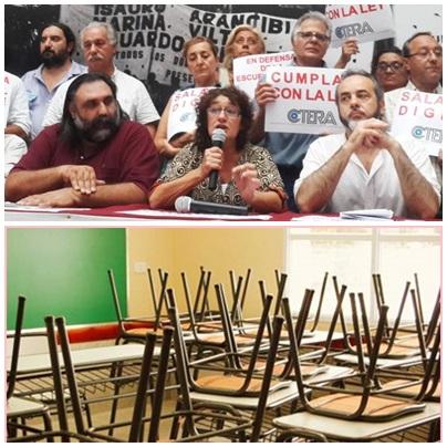 Sin clases:los gremios docentes anunciaron un paro nacional de 48 hs., el 6 y el 7 de marzo y marchan con la CGT