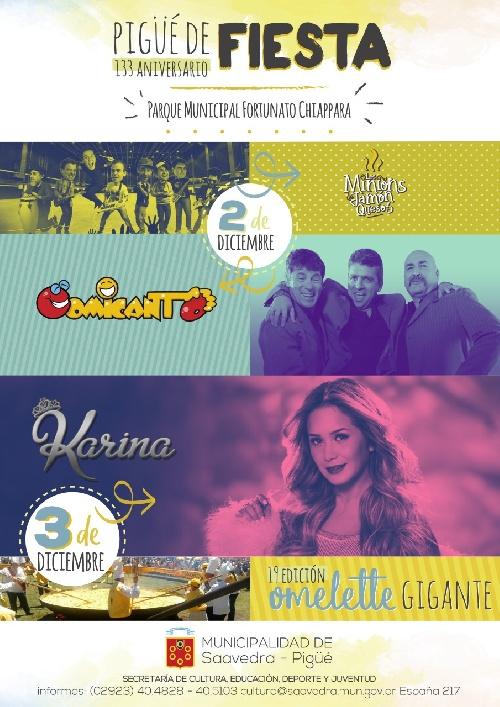 Pigüé: cronograma actividades para la celebración del 133º aniversario de la ciudad