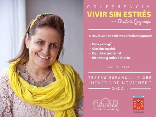 """Charla """"vivir sin estres"""" a beneficio de instituciones locales"""