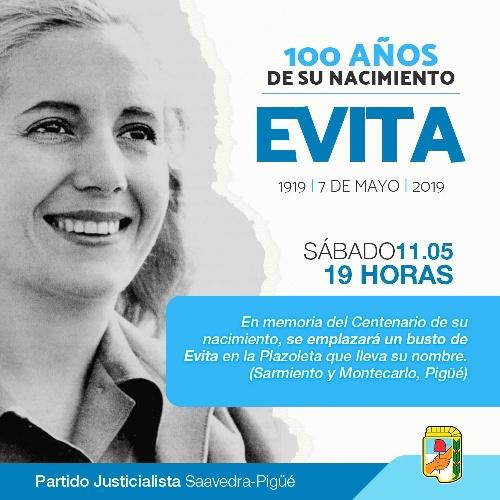 Colocarán un busto de Evita en la plazoleta de Sarmiento y Montevideo