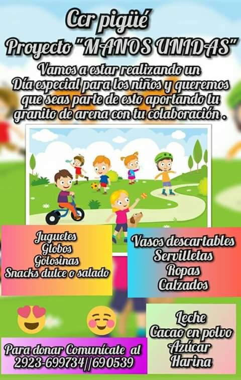 Dia del niño, festejo y solicitud de colaboración
