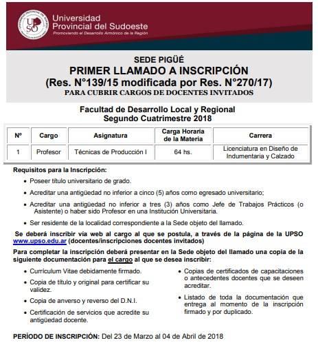 UPSO: llamado a cubrir cargo docente invitado