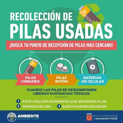 Recipientes especiales para pilas usadas en Pigüé y los pueblos del distrito
