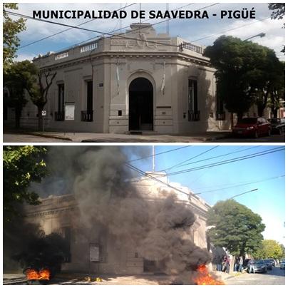 Los municipales están de huelga y quema de gomas