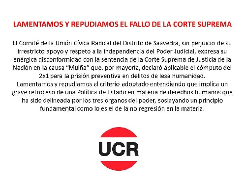 Pigüé: La Union Civica Radical del Distrito repudió el 2x1 a los represores