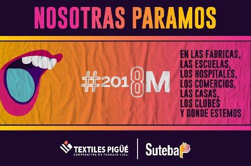 Actividades por el dia de la mujer  convocados por Textiles Pigüé y SUTEBA Saavedra