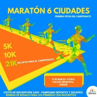 Atletismo - La primera fecha de la Maratón 6 ciudades se corre en Carhué.