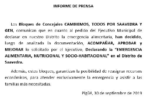 Los concejales de Cambiemos, Todos por Saavedra y GEN aprueban y amplían la declaración de emergencia
