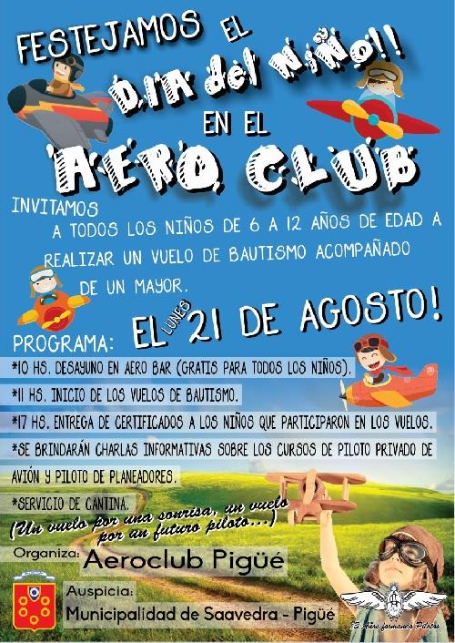 Vuelos de Bautismo juegos y merienda en el Aero Club Pigüé para el dia del niño