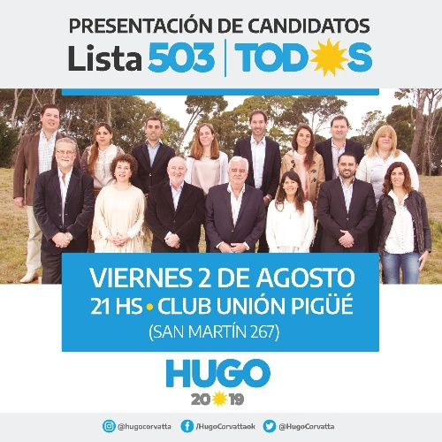 El Frente de Todos presenta hoy la lista que lidera Hugo Corvatta