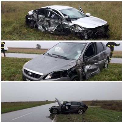Choque múltiple de tres autos, con cuatro heridos en Ruta Nacional 33