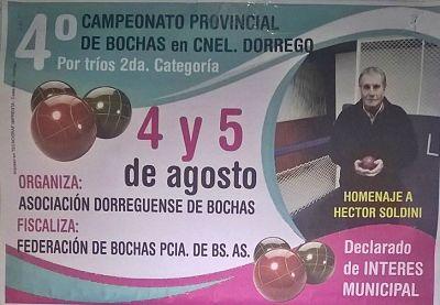 Bochas - Coronel Dorrego organiza el Provincial de Segunda Categoría por tercetos.