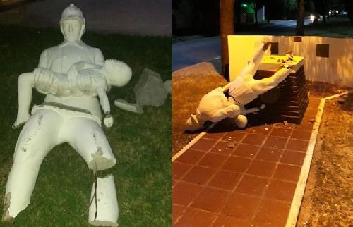 Destruyen el monumento a los Bomberos Voluntarios de Pigüé